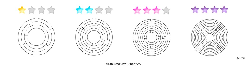 vector illustration of set of 4 circular mazes for kids at different levels of complexity