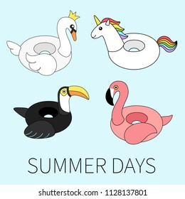 Vector illustration: set of 4 inflatable swimming accessories rubber Unicorn with rainbow mane, pink Flamingo, white Swan in crown and black Toucan in flat style isolated on blue background