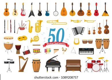 Vector illustration set of 50 musical instruments in cartoon style isolated on white background