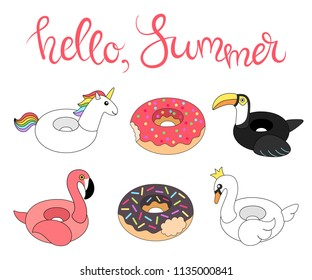 Vector illustration: set of 6 inflatable swimming accessories rubber Unicorn with rainbow mane, pink Flamingo, Swan in crown, black Toucan and two donuts in cartoon style isolated on white background.