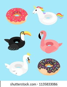 Vector illustration: set of 6 inflatable swimming accessories rubber Unicorn with rainbow mane, pink Flamingo, Swan in crown, black Toucan and two donuts in cartoon style isolated on blue background.