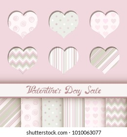 Vector illustration: set of 6 seamless holiday patterns in pastel colors for Valentine's day decorations or Wedding wrapping paper.