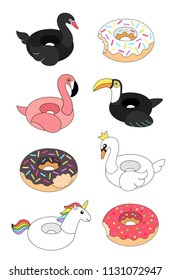 Vector illustration: set of 8 inflatable swimming accessories rubber black Swan, white Swan, pink Flamingo, black Toucan, Unicorn and 3 donuts icons in cartoon style isolated on white background