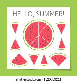Vector illustration: set of 9 red cone, semicircle and circle flat watermelon pieces icons with black seeds and green peel in retro style isolated on white background with green border.