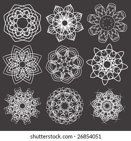 Vector illustration set of abstract floral and ornamental elements