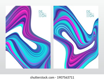 Vector illustration: Set of abstract neon colored flow backgrounds. Modern design.