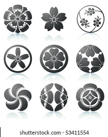 Vector illustration set of abstract Sakura graphic elements in japanese style
