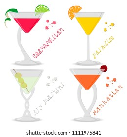 Vector illustration for set alcohol cocktails manhattan, cosmopolitan, paradise, martini. Full glass cup with cocktail, slice fruits. Cocktail manhattan, cosmopolitan, paradise, martini for holiday.