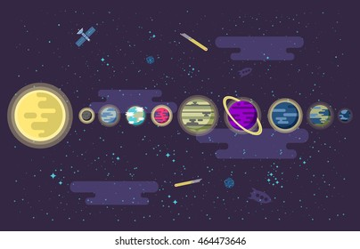 Vector illustration of a set of all the planets of the solar system in outer space in a flat style