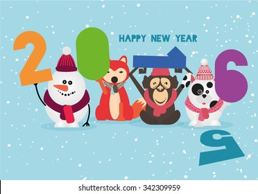 vector illustration set of animal characters snowman, reindeer, penguin, fox, bear, monkey holding a new year figures 2016 Merry Christmas, vintage style funny greeting card