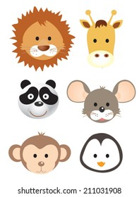 Vector illustration set of animal faces.