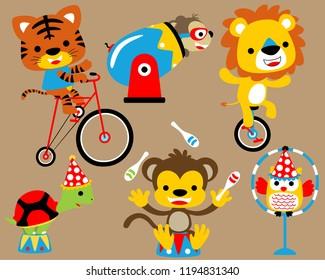 vector illustration set of animals cartoon in circus show