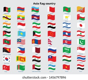 Vector illustration set of Asia flags wave with names