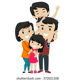 Vector Illustration Set of  Asian Happy Family