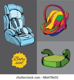 Vector illustration of set baby seat for car. All categories, infant, child and pupil with booster. Security in car, transport. Element for design