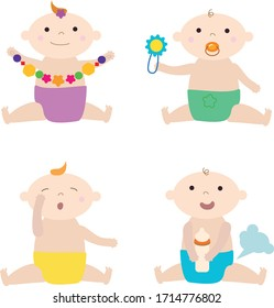 vector illustration set baby situations, sleepy, playing, eating, laughing