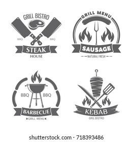 vector illustration set of badges on a theme, burger, hot dog, kebab and sandwich, on white background, for advertising and menu design / fast food and grill badges