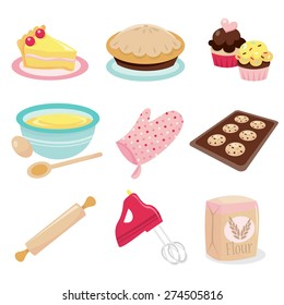 A vector illustration set of baking related icons like cake, pie, cupcakes, mixing bowl, oven mitten, cookies in a tray, rolling pin, hand mixer and flour.