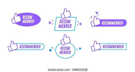 vector illustration set banner recommended with thumbs up