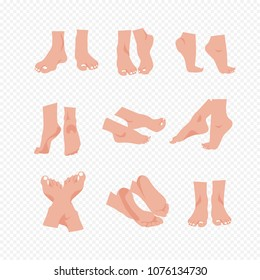 Vector illustration set of beautiful bare woman feet and legs isolated on transparent background in flat cartoon style.