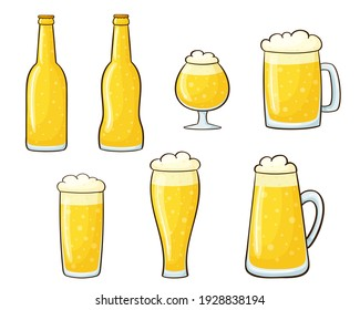 Vector illustration set of beer. Glasses and bottles with a drink in a cartoon style isolated on a white background. Foam mugs. Bar elements