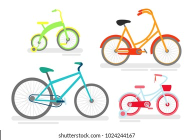 Vector illustration set of bicycles, bike cycling cyclist, transportation type, bicycles in bright green, pink and blue colors for kids and adults in cartoon style.
