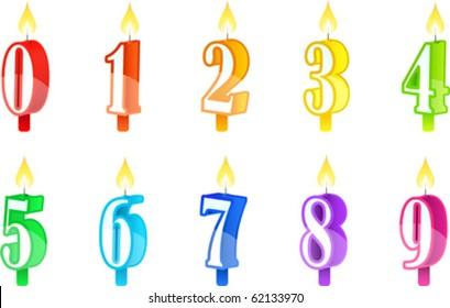 Vector illustration set of birthday candles