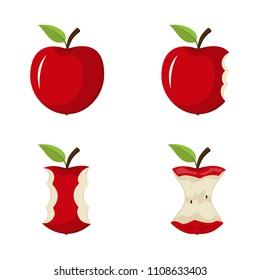 Vector illustration. Set of bitten apples.