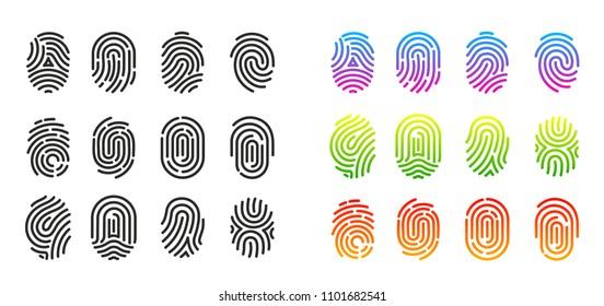 Vector illustration set of black and colorful fingerprint icons. Flat design  isolated on white background. Fingerprint Identification Symbol.