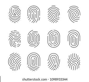 Vector illustration set of black fingerprint icons isolated on white background. Fingerprint Identification Symbol.