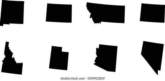 vector illustration of Set of Black map of US federal states of Mountain western region