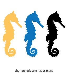 Vector illustration set of black, orange and blue silhouette of sea horse. Seahorse icon isolated on white background.