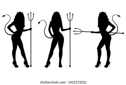 Vector illustration set of black silhouette of a devil girl. Isolated white background. Woman with pitchforks, horns and a tail. Icon of the demon girl side view, profile.