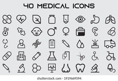 vector illustration of set of black white lining medical instrument