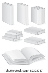 Vector illustration set of blank books with hardcover. All vector objects are isolated and grouped. Colors and transparent background color are easy to customize.
