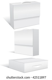 Vector illustration set of a blank case or box in different 3D views. All objects are isolated. Box colors and white background color are easy to adjust/customize.