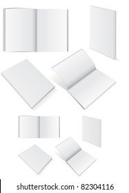 Vector illustration set of blank square of rectangle books with softcover. All vector objects are isolated and grouped. Colors and transparent background color are easy to customize.