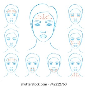Vector illustration: set of blue contour hand drawn asian female face icons with Face Massage  isolated on white background
