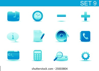 Vector illustration ? set of blue elegant simple icons for common computer and media devices functions. Set-9