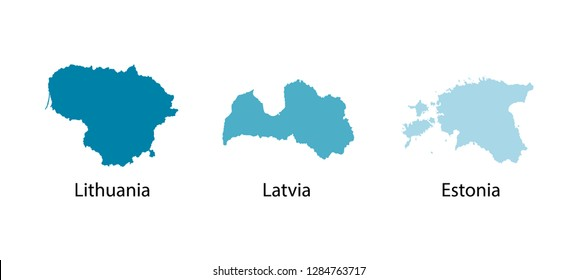 Vector illustration set with blue silhouettes of Baltic States maps (simplified outlines). Lithuania, Latvia, Estonia. White background