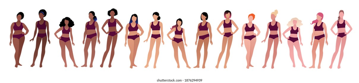Vector illustration set of body positive multiethnic female characters isolated on white background.