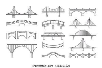 Vector illustration set of bridges icons. Types of bridges. Linear style icon collection of different bridges. Possible use in infographic design, urbanistic concept elements.