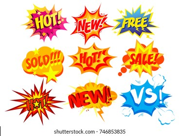 Vector illustration set of bright and colorful cartoon labels. Comic speech bubble background Pop art style.