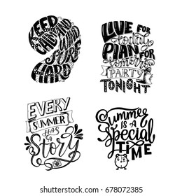 Vector illustration Set Brush lettering composition of Summer quotes on white background. Summer lettering for cards, posters, prints and more