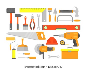 Vector illustration set of building tools and elements for building in bright colors isolated on white background in flat cartoon style.