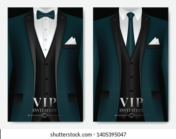 Vector illustration of Set of business card templates with suit and tuxedo