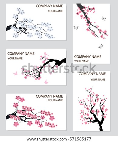 Vector illustration set business card cherry stock vector royalty vector illustration of a set of business card with cherry blossom colourmoves