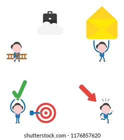 Vector illustration set of businessman  carrying ladder to reach briefcase on cloud, carrying envelope, with bulls eye and dart and holding up check mark and running away from arrow moving down.
