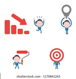 Vector illustration set of businessman mascot character running away from sales bar moving down, holding up map pointer, holding and walking paint roller brush and with bulls eye head.