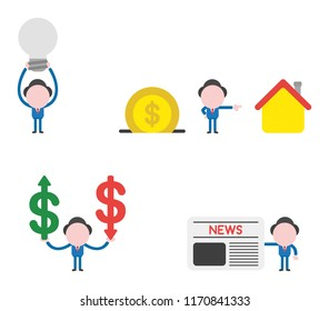 Vector illustration set of businessman mascot character holding up light bulb, with dollar coin into moneybox and pointing house, holding dollar money symbols with arrow moving up and down and h